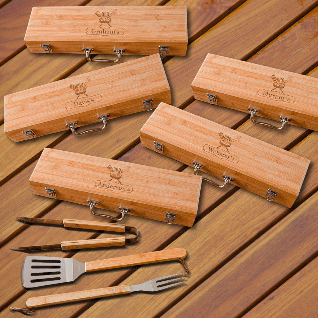 Personalized Set of 5 Grilling Set - Bamboo Case - Stainless Steel