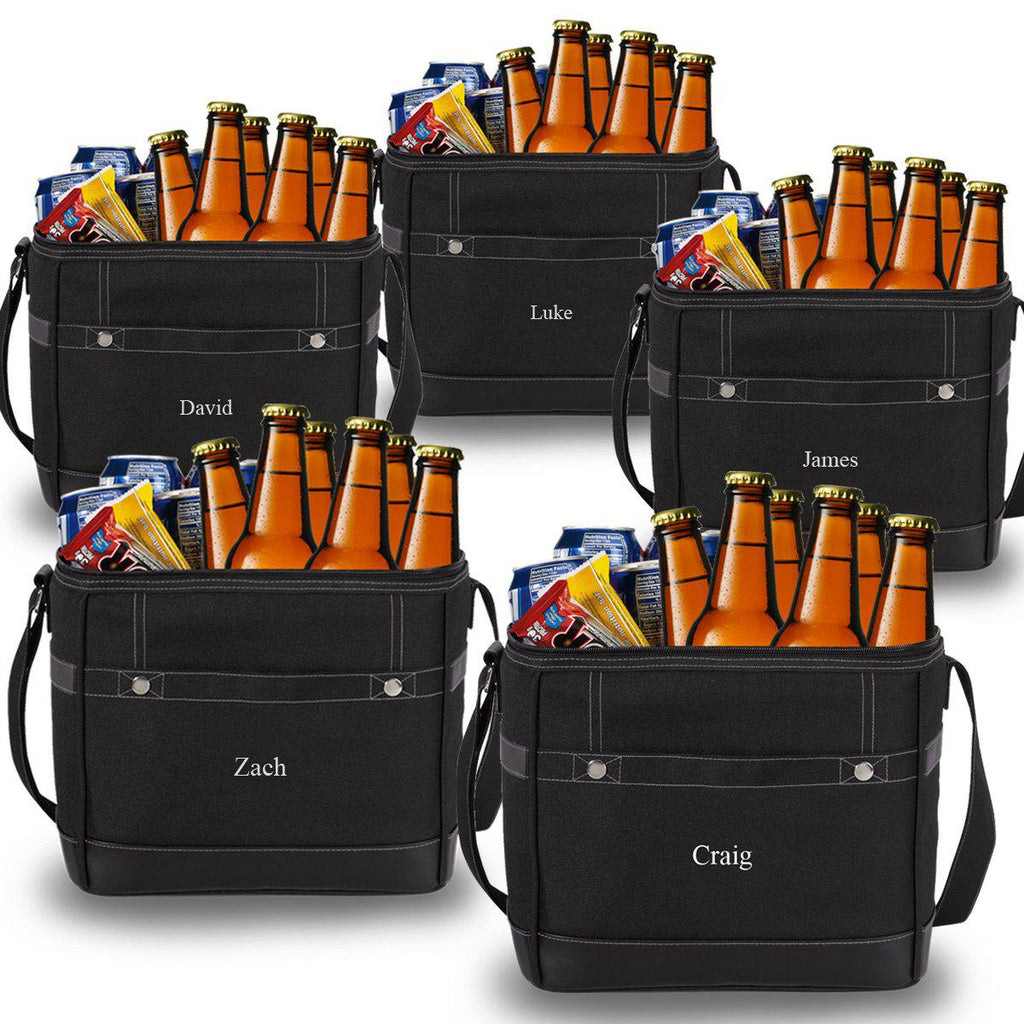 Personalized 12 Pack Cooler Totes with Bottle Opener - Set of 5