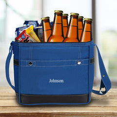 Groomsmen 12-Pack Trail Cooler With Built-In Bottle Opener Blue