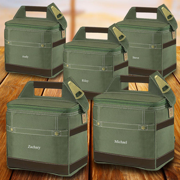 Groomsmen Gift Set of 5 Trail Coolers With Built-In Bottle Opener