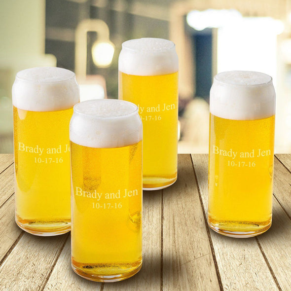 Personalized Tall Boy Beer Glasses - Set of 4 - Personalized Beer Glasses for Groomsmen - Monogrammed Beer Glasses-2 lines-
