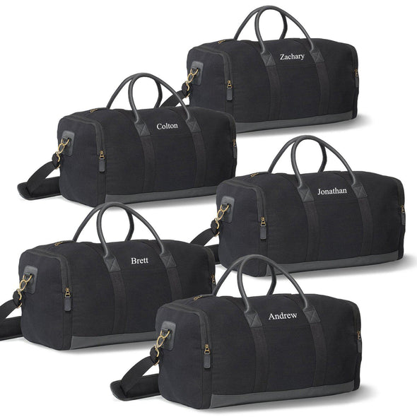 Personalized Canvas Supply Weekender Duffel Bags - Set of 5 Bags-Black