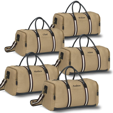 Groomsmen Overnight Weekender Canvas Duffel Bags - Set of 5