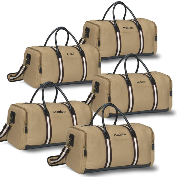 Personalized Canvas Supply Weekender Duffel Bags - Set of 5 Bags-Khaki