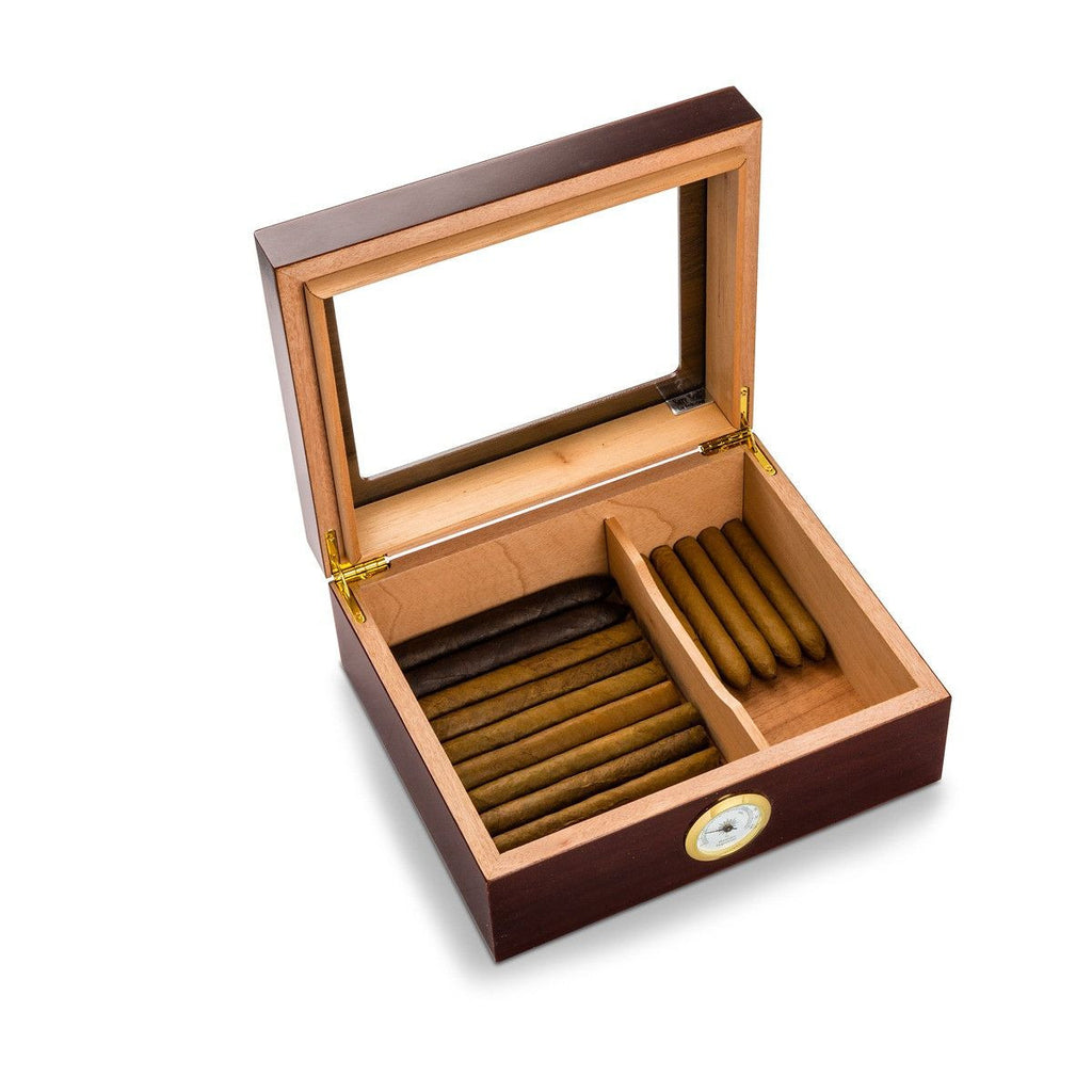 Personalized Trinidad Glass Top Mahogany Humidors - Personalized Humidors for Groomsmen -  Set of 5