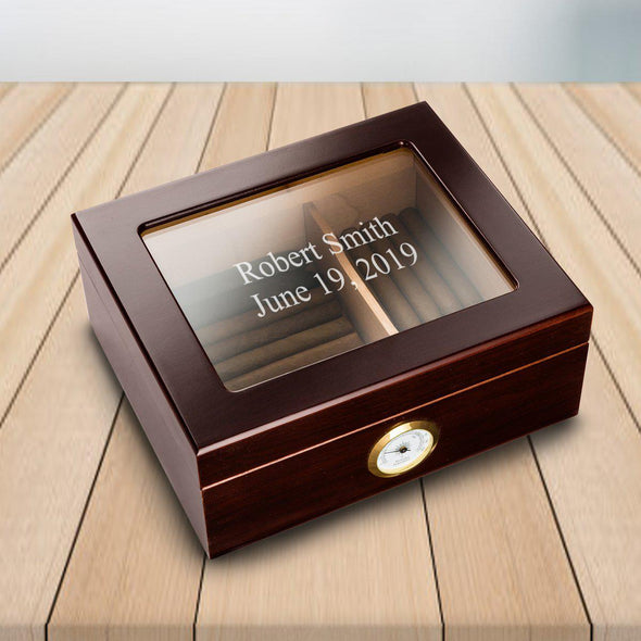 Personalized Trinidad Glass Top Mahogany Humidor for Groomsmen - Personalized Humidor - Monogrammed Cigar Humidor
