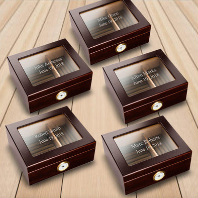 Personalized Set of 5 Glass Top Humidors Groomsmen Gifts