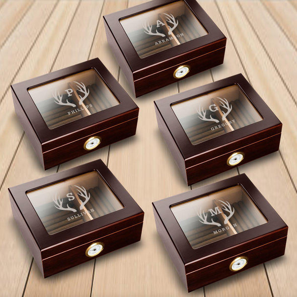 Personalized Mahogany Glass Top Humidor - Set of 5