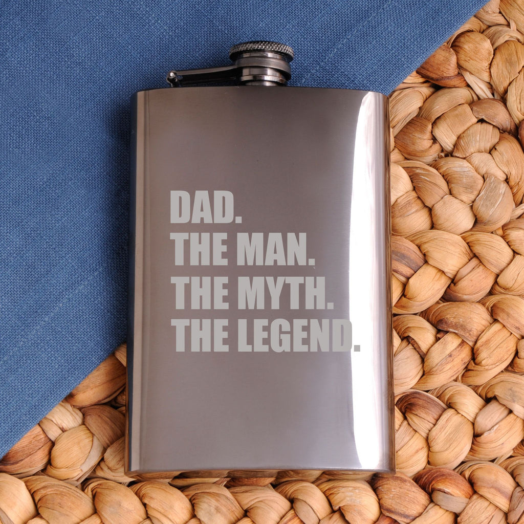 The Man. The Myth. The Legend. Gunmetal 8 oz. Flask - Personalized Flask for Groomsmen