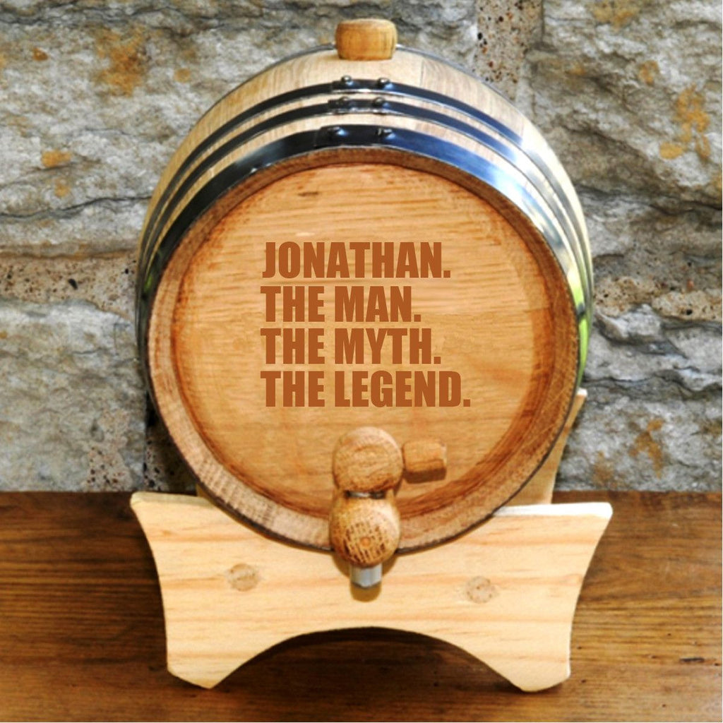 The Man. The Myth. The Legend. Whiskey Barrel - Personalized Whiskey Barrel for Groomsmen Gifts