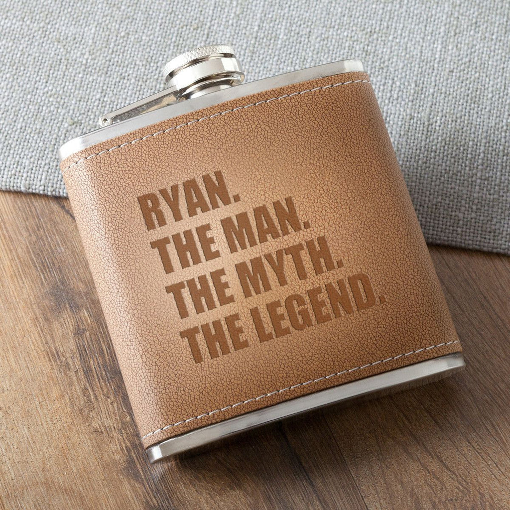 The Man. The Myth. The Legend. Tan Hide Stitched Flask - Personalized Flask for Groomsmen