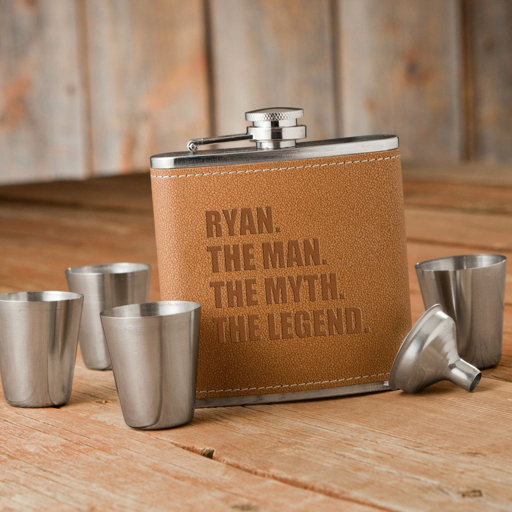 The Man. The Myth. The Legend. Tan Hide Stitched Flask and Shot Glass Set - Personalized Flask and Shot Glass Set for Groomsmen