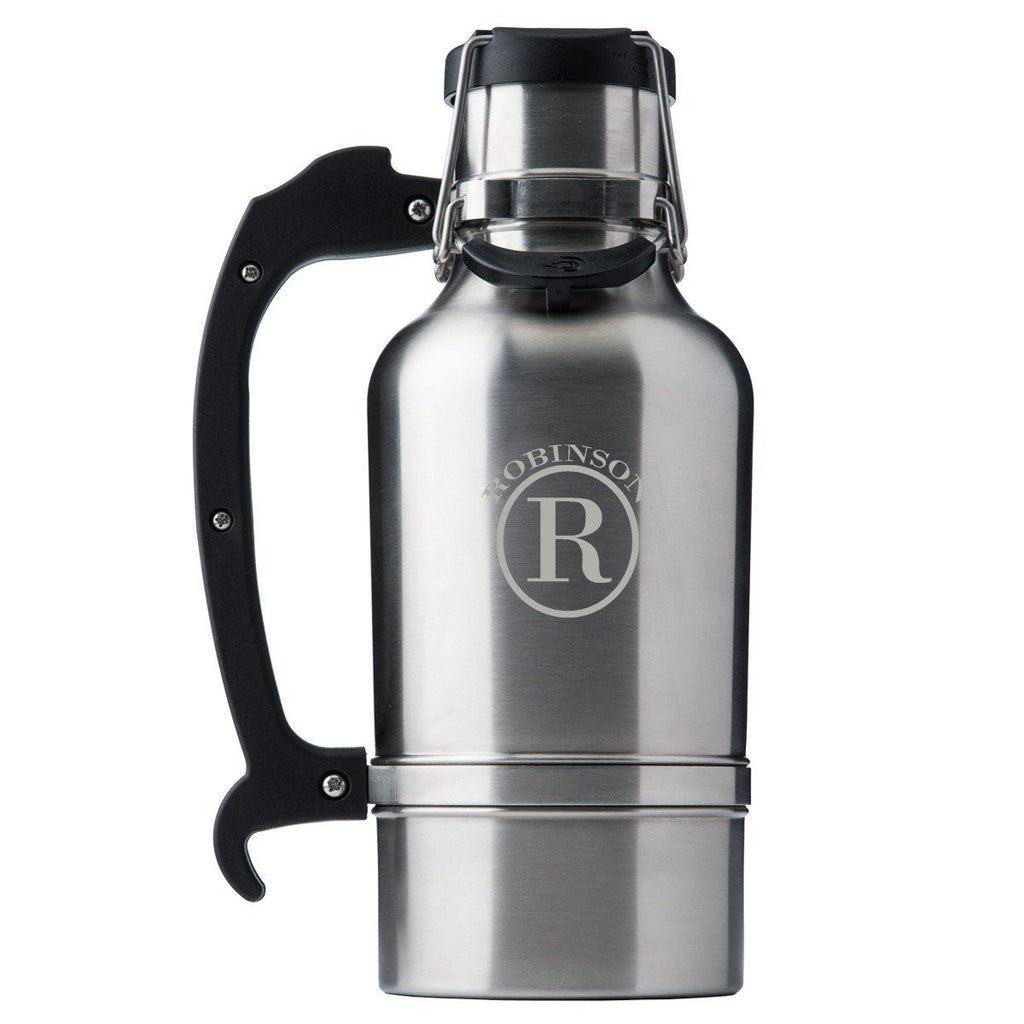 Drinktanks Brushced Silver Personalized 64 oz. Insulated Growler - Personalized Drinktanks Beer Growler for Groomsmen - All