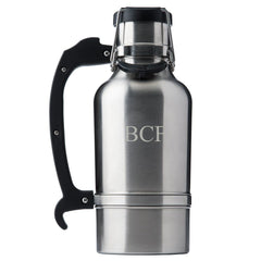 Drinktanks Brushced Silver Personalized 64 oz. Insulated Growler - Personalized Drinktanks Beer Growler for Groomsmen - All-Groomsmen Gifts
