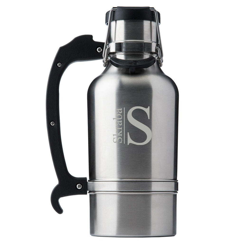Drinktanks Brushced Silver Personalized 64 oz. Insulated Growler - Personlized Drinktanks Beer Growler for Groomsmen