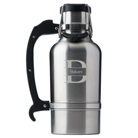 Drinktanks Brushed Silver Personalized 64 oz. Insulated Growler - Personalized Drinktanks Beer Growler for Groomsmen - All-Groomsmen Gifts