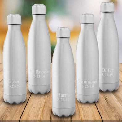 Set of 5 Personalized Stainless Steel Water Bottles
