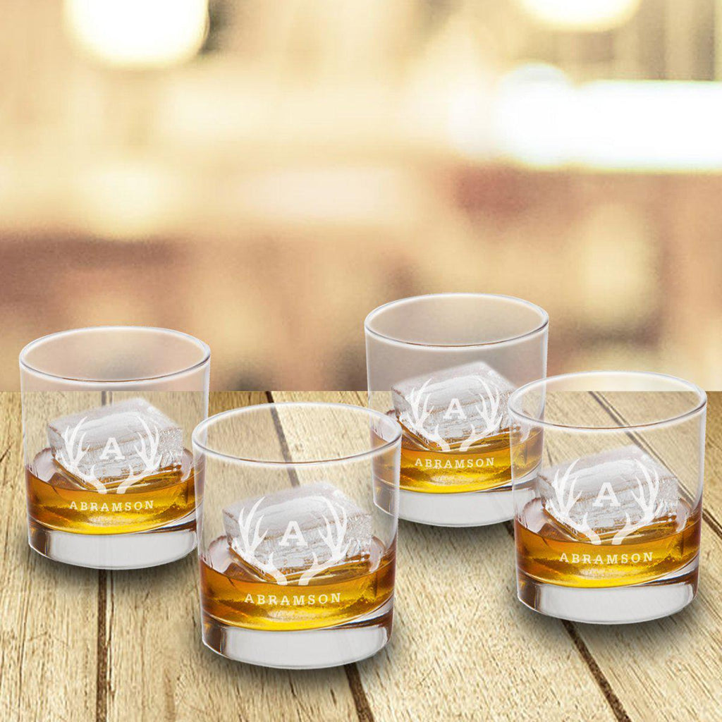 Personalized Lowball Whiskey Glasses - Mongrammed Whiskey Glasses for Groomsmen - Set of 4