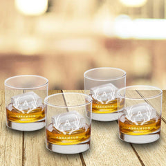 Personalized Lowball Whiskey Glasses - Mongrammed Whiskey Glasses for Groomsmen - Set of 4-Antlers-