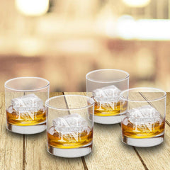 Personalized Lowball Whiskey Glasses - Mongrammed Whiskey Glasses for Groomsmen - Set of 4-Filigree-