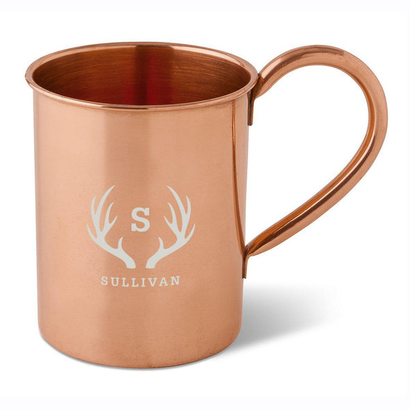 Personalized 16 oz. Classic Copper Moscow Mule Mug-Antlers-