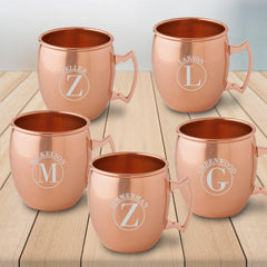 Personalized 20 oz. Classic Copper Moscow Mule Mug - Set of 5-Circle-