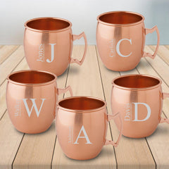 Personalized 20 oz. Classic Copper Moscow Mule Mug - Set of 5-Modern-