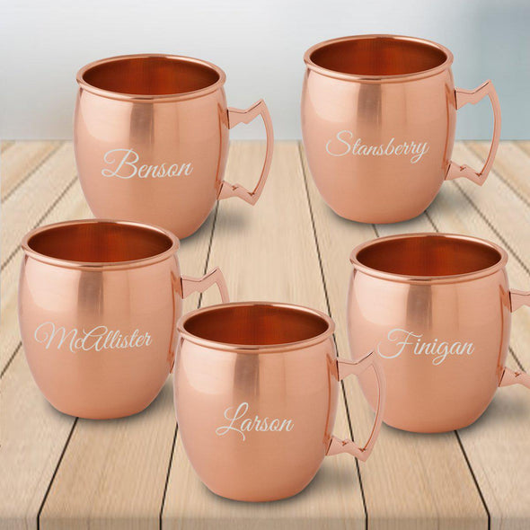 Personalized 20 oz. Classic Copper Moscow Mule Mug - Set of 5-Script-