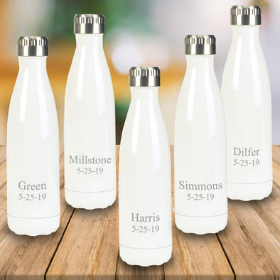 Personalized Set of 5 White Stainless Steel Double Wall Insulated Water Bottle-Travel Gifts-JDS-2lines-