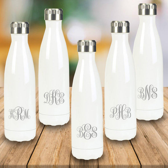 Personalized Set of 5 White Stainless Steel Double Wall Insulated Water Bottle-Travel Gifts-JDS-IMF-