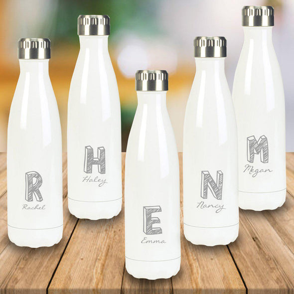 Personalized Set of 5 White Stainless Steel Double Wall Insulated Water Bottle-Travel Gifts-JDS-Kate-