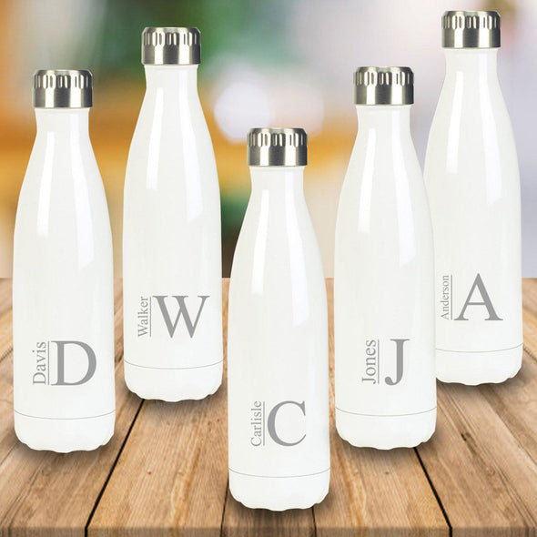 Personalized Set of 5 White Stainless Steel Double Wall Insulated Water Bottle-Travel Gifts-JDS-Modern-