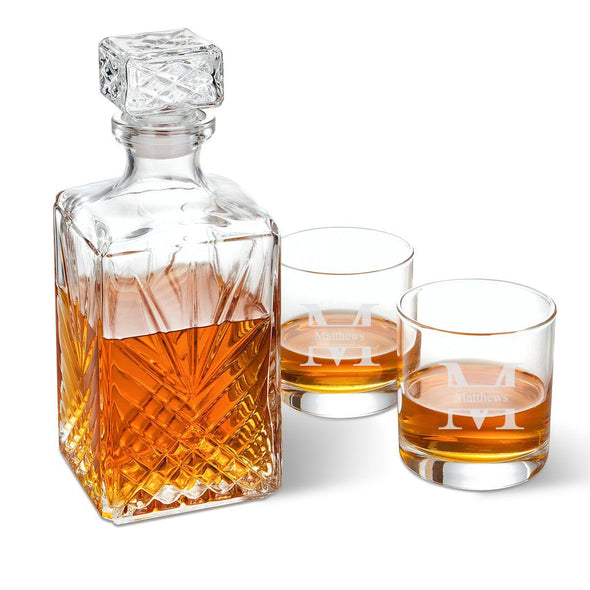Bormioli Rocco Selecta Square Decanter with Stopper and 2 Low Ball Glass Set-Stamped-
