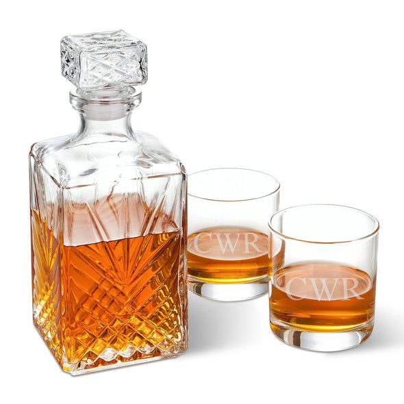 Bormioli Rocco Selecta Square Decanter with Stopper and 2 Low Ball Glass Set-3Initials-