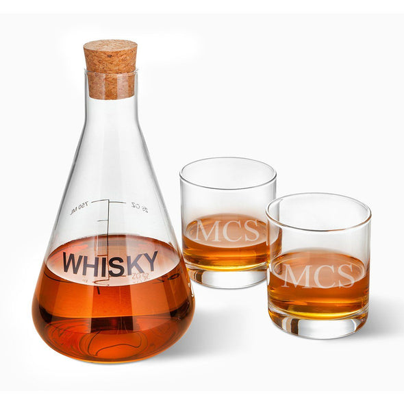 Personalized Whiskey Decanter in Wood Crate with set of 2 Lowball Glasses-3Initials-