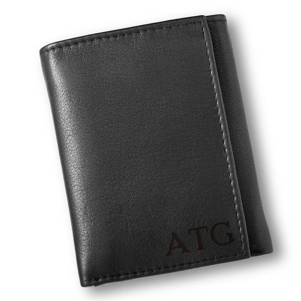 Personalized Black Leather Borello Tri-fold Wallet-Blind-