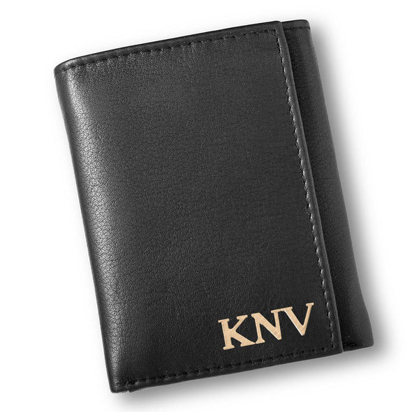 Personalized Black Leather Borello Tri-fold Wallet-Gold-