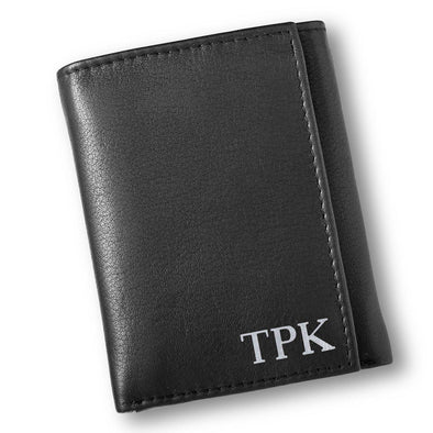 Personalized Black Leather Borello Tri-fold Wallet-Silver-