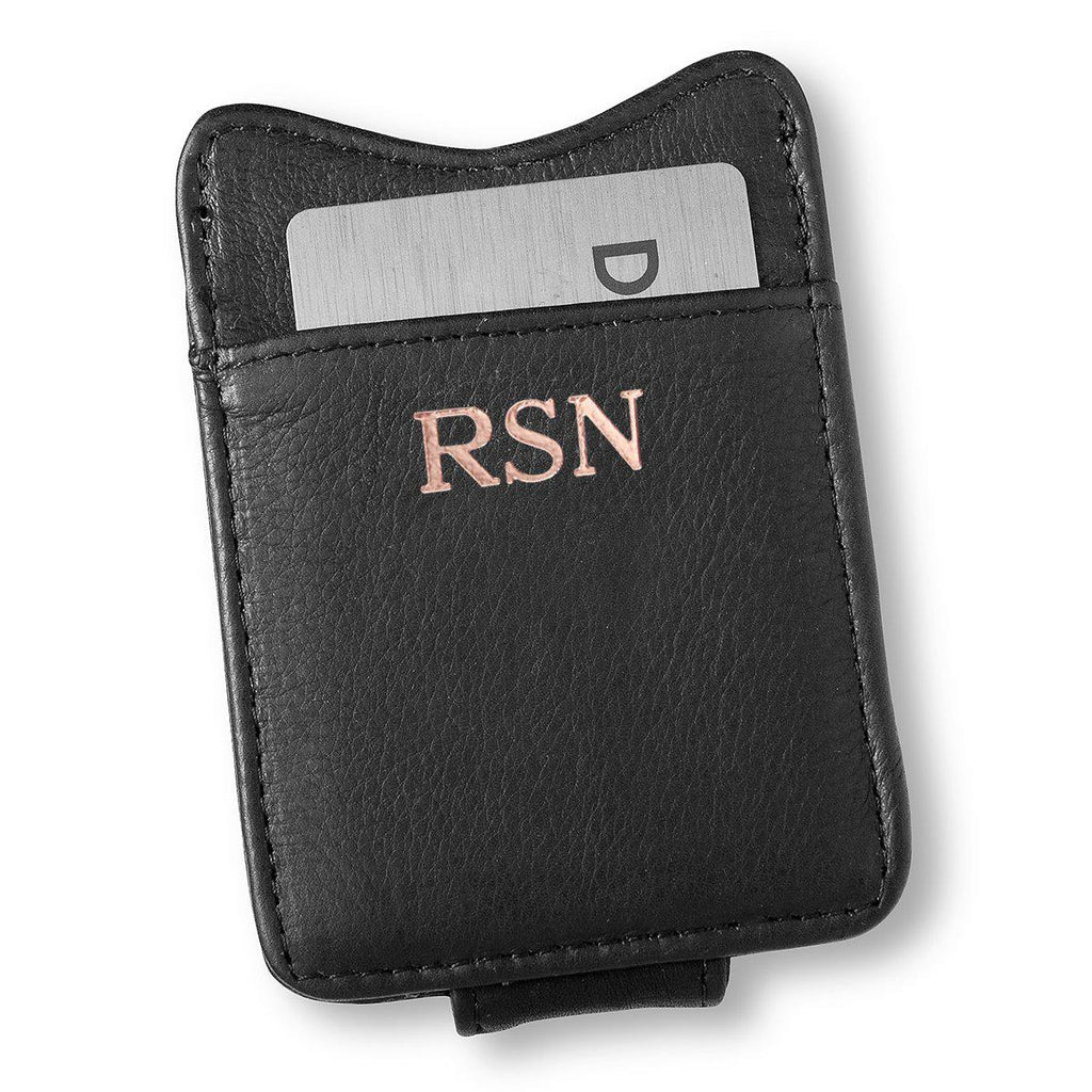Personalized Black Leather Borello Money Clip
