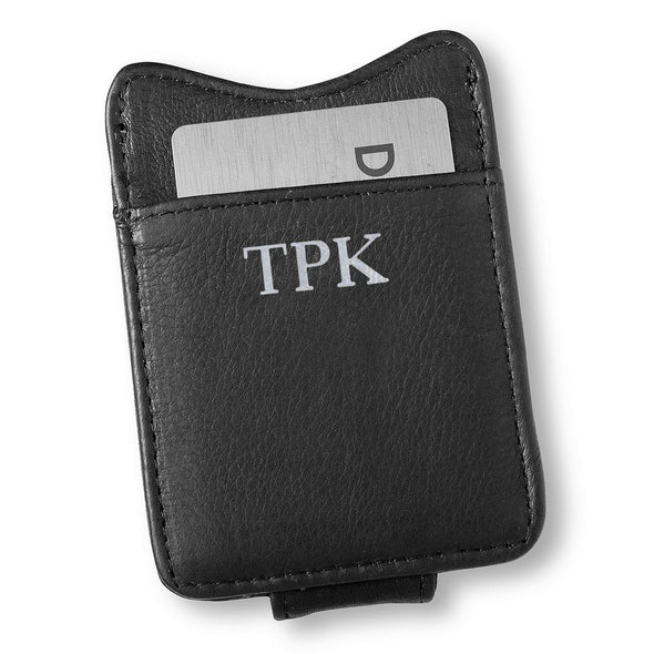 Personalized Black Leather Borello Money Clip-Silver-