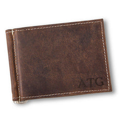 Personalized Distressed Brown Leather Borello Wallet for Men-Blind-