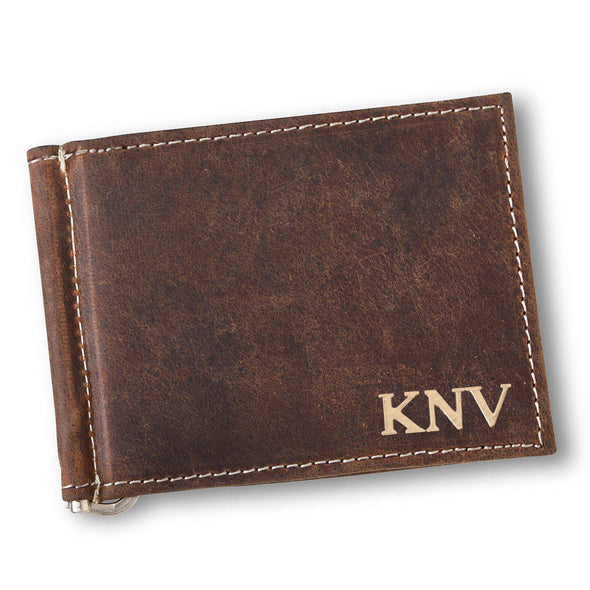 Personalized Distressed Brown Leather Borello Wallet for Men-Gold-