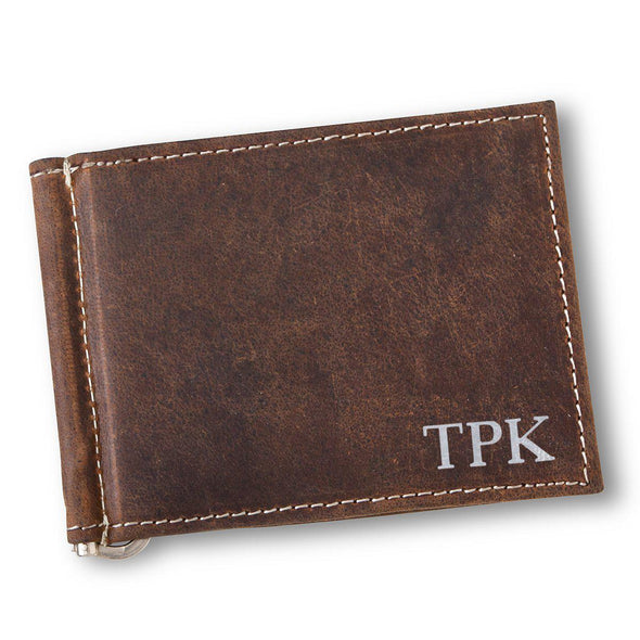 Personalized Distressed Brown Leather Borello Wallet for Men-Silver-