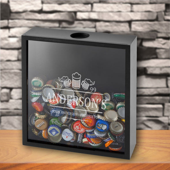 Personalized Shadow Box - Beer Bottle Cap Display - Groomsmen Gifts-3Beers-