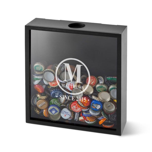 Personalized Shadow Box - Beer Bottle Cap Display - Groomsmen Gifts-Initial-