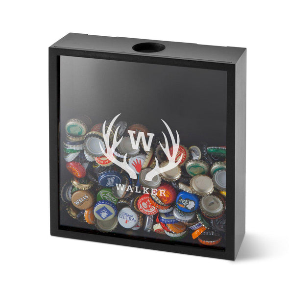 Personalized Shadow Box - Beer Bottle Cap Display - Groomsmen Gifts-Antlers-