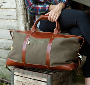 Personalized Forest Green Borello Canvas and Leather Weekender Duffel Bag-