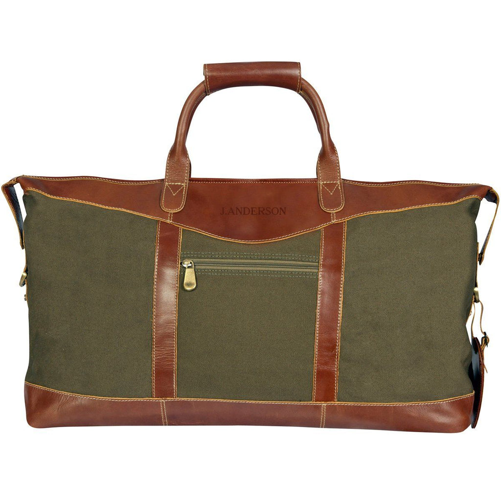Personalized Forest Green Borello Canvas and Leather Weekender Duffel Bag