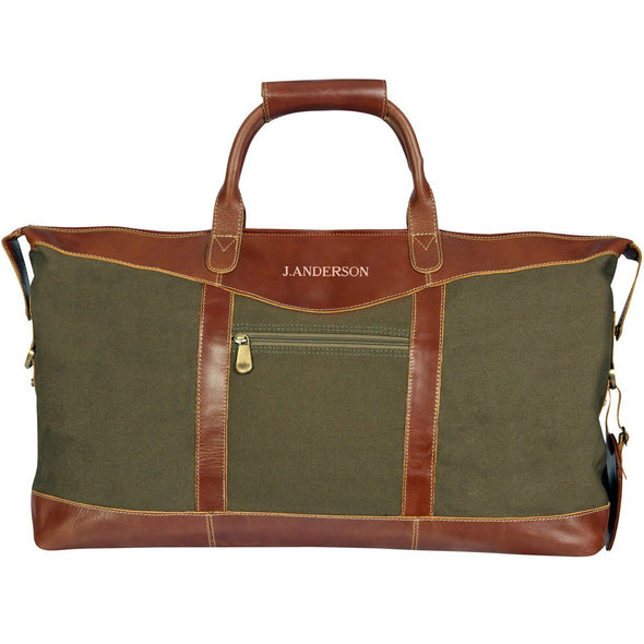 Personalized Forest Green Borello Canvas and Leather Weekender Duffel Bag-RoseGold-