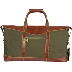 Personalized Forest Green Borello Canvas and Leather Weekender Duffel Bag-Silver-